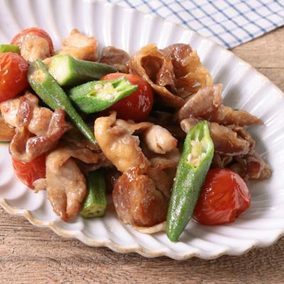 中華風!肉とオクラとトマトの甘酢炒め