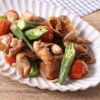 中華風!肉とオクラとトマトの甘酢炒め!