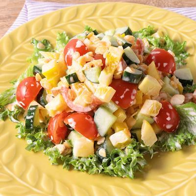 レンズ豆と彩り野菜のチョップドサラダ