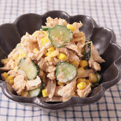 手作りサラダチキンで明太マヨサラダ