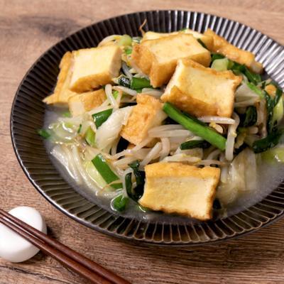 長ねぎと厚揚げの塩野菜炒め
