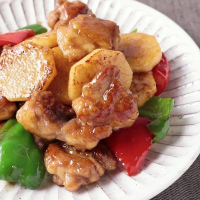 ガリバタ香る 長芋と鶏肉の炒め物