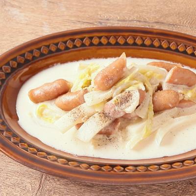 白菜とウインナーの和風ミルク煮