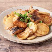 鮭とエリンギと長芋のにんにく味噌バター炒め