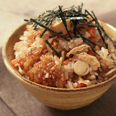ベビーホタテと生姜のポン酢炊き込みご飯