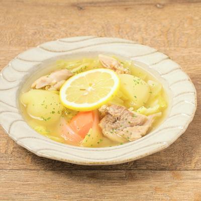 根菜と鶏もも肉のレモンポトフ