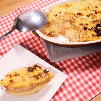 手作り豆腐カスタードのこんがりスコップケーキ