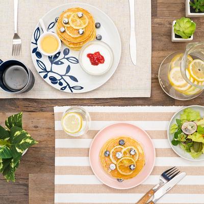 ふわふわ!爽やかレモンパンケーキ 夏のお皿コーデ2選