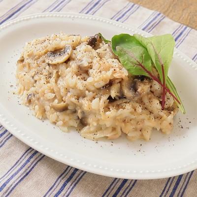 レンジで米から炊く ツナときのこの簡単リゾット