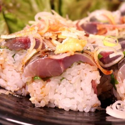 アジの刺身で簡単!棒寿司