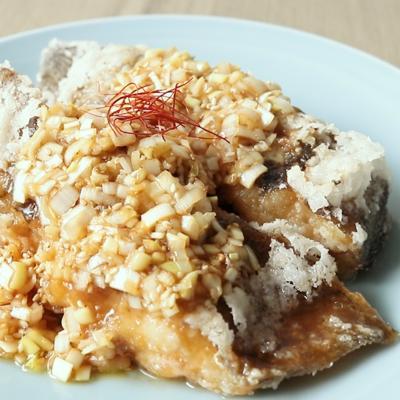 中華風ダレで美味しい 揚げカレイ