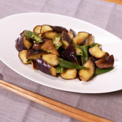 レンジで簡単調理!オクラとナスの梅和え