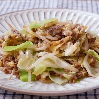 お手軽 野菜とひき肉の卵とじ