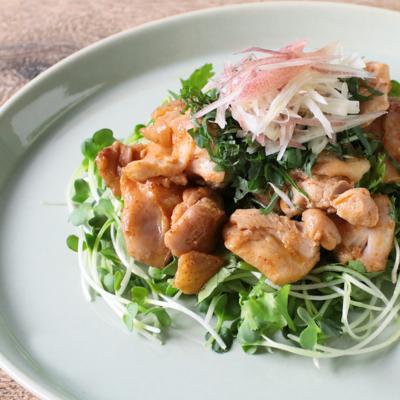 エスニックなチキンの香味野菜のサラダ仕立て