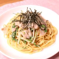 豚バラ肉と水菜の和風スパゲティ