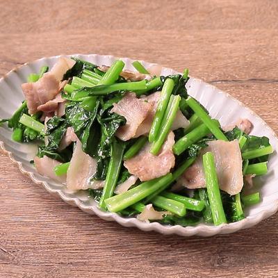 かき菜と豚バラ肉の塩麹炒め