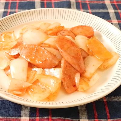 味つけ簡単 魚肉ソーセージと玉ねぎのケチャップ炒め