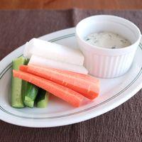 野菜スティック 豆腐バジルのディップ