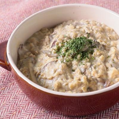 きのことツナでオートミールの豆乳チーズリゾット風