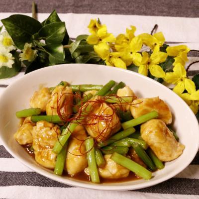 ササミとニンニクの芽のオイスターソース炒め