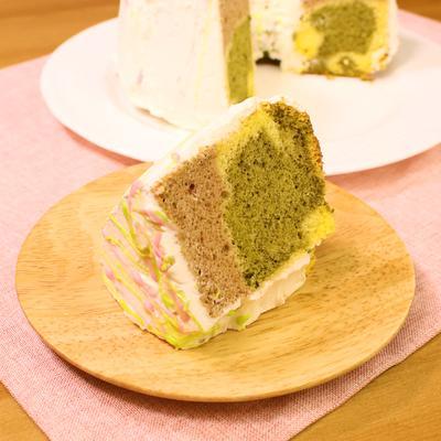 3色の春シフォンケーキ