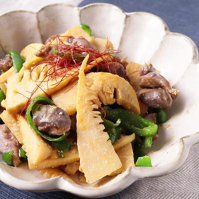 極旨 タケノコと砂肝の味噌炒め