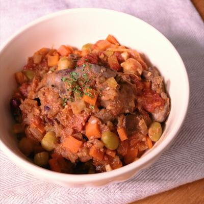 レバーと野菜のトマト煮