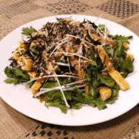 生春菊とカリカリ油揚げの和風サラダ