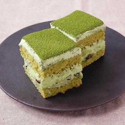 ゴロゴロ甘納豆の抹茶クリームケーキ