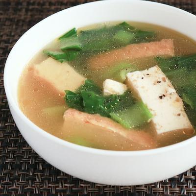 厚揚げとチンゲン菜のスープ