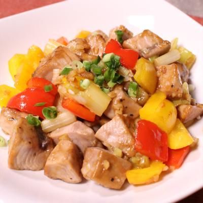 カツオと彩り野菜のオイスターソース炒め