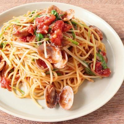 あさりと水菜のトマトパスタ
