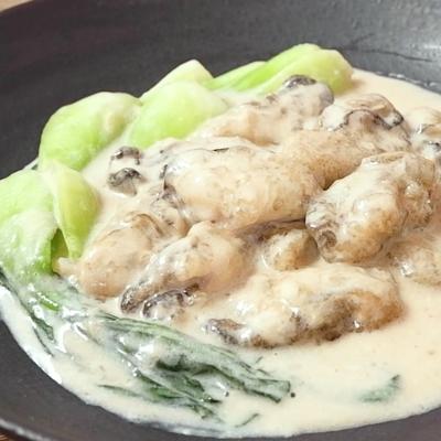 牡蠣とチンゲン菜の中華クリーム煮