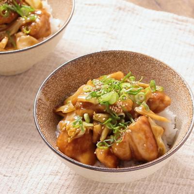 黒酢で作る キャベツと鶏の甘酢丼