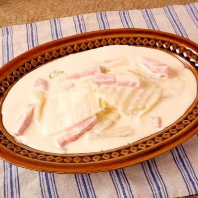 白菜とベーコンのクリームチーズ煮