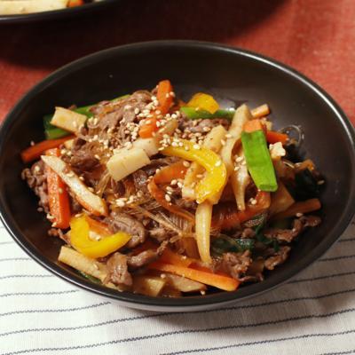 彩り野菜と春雨の甘辛炒め