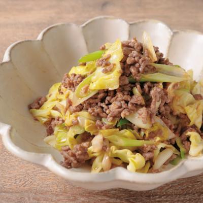 合挽き肉とキャベツの回鍋肉風炒め