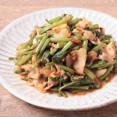 空心菜と豚キムチ炒め