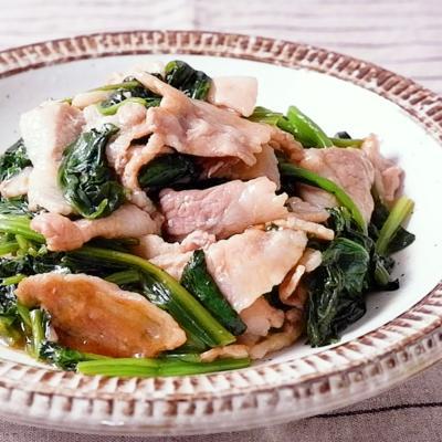 豚バラとほうれん草の酢醤油炒め