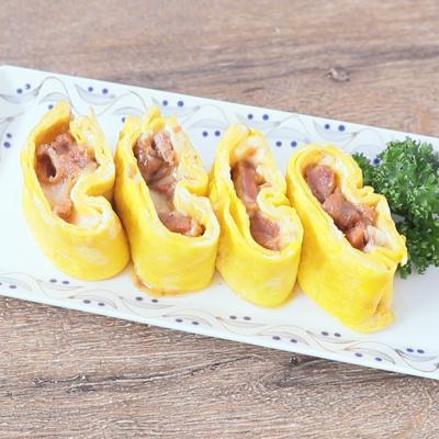 フライパンで作る 焼き鳥とチーズの甘辛卵焼き