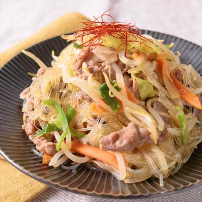 レンジで 牛肉とたっぷり野菜チャプチェ風