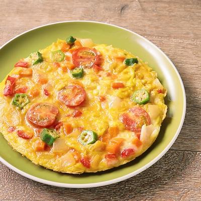 具沢山野菜のチーズオープンオムレツ
