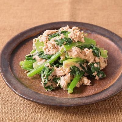 レンジで簡単 小松菜とツナのわさびマヨネーズ和え