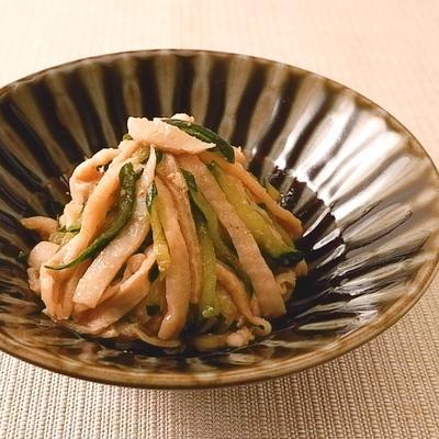 鶏皮ときゅうりの胡麻ポン酢和え