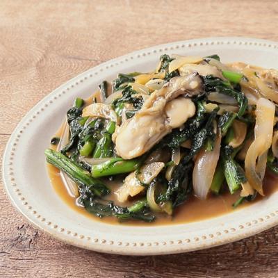 春菊と牡蠣のこってり中華風炒め