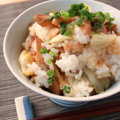 朝ごはんに 秋鮭のちゃんちゃん焼き風まぜご飯