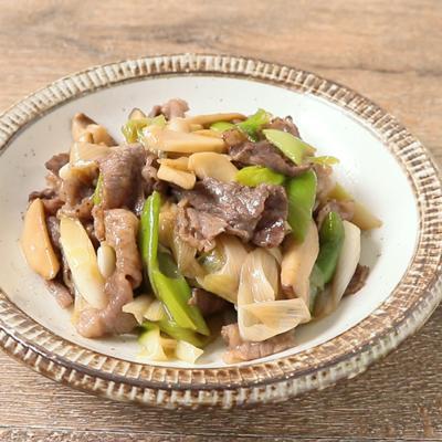 下仁田ねぎと牛こま切れ肉の炒め物
