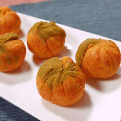 レンジでチン 二色のかぼちゃ茶巾