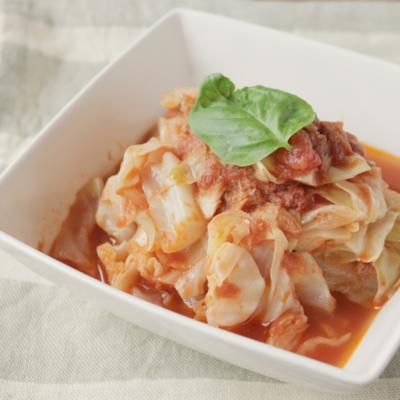 レンジで簡単 キャベツとツナのトマト煮風
