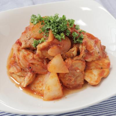 鶏もも肉と大根のトマト煮